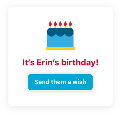 Cake illustration with message letting others know it's Erin's birthday