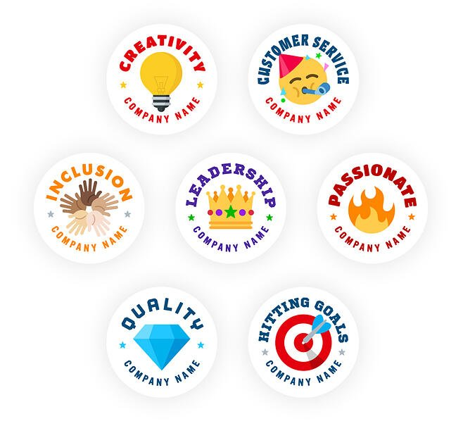 Badges showing reasons an employee might be recognized
