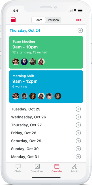 Phone showing a calendar with team meetings rectangle in green