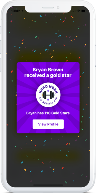 Phone showing an employee receiving a gold star recognition