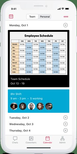 Crew app calendar