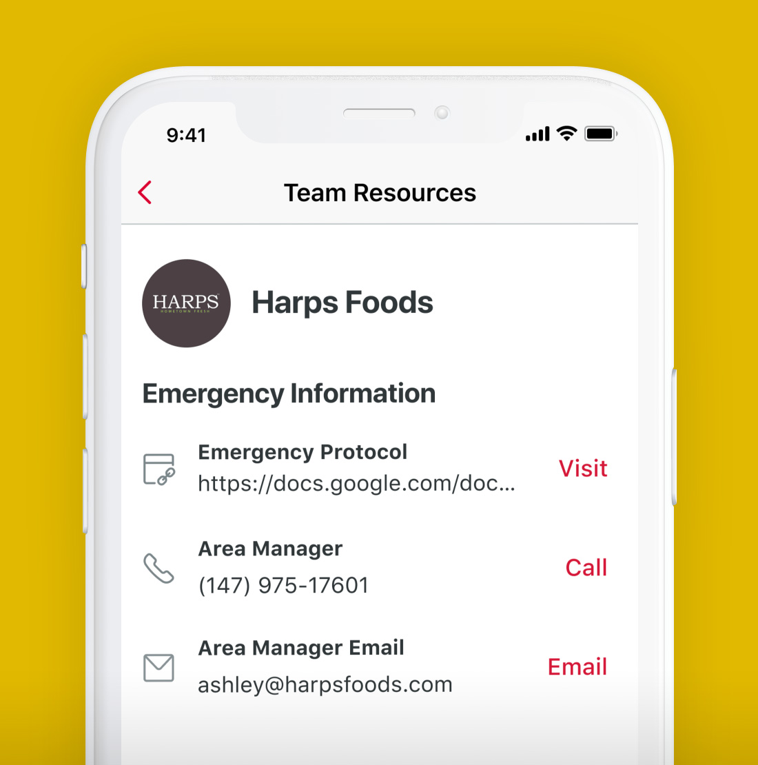 Team Resources phone screen