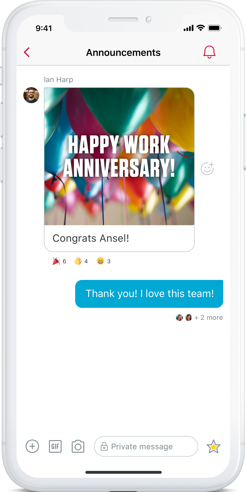 Phone showing anniversary message