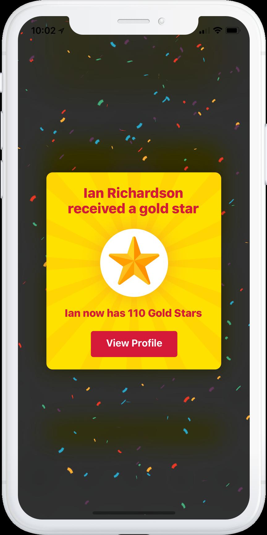 Crew app Gold Stars