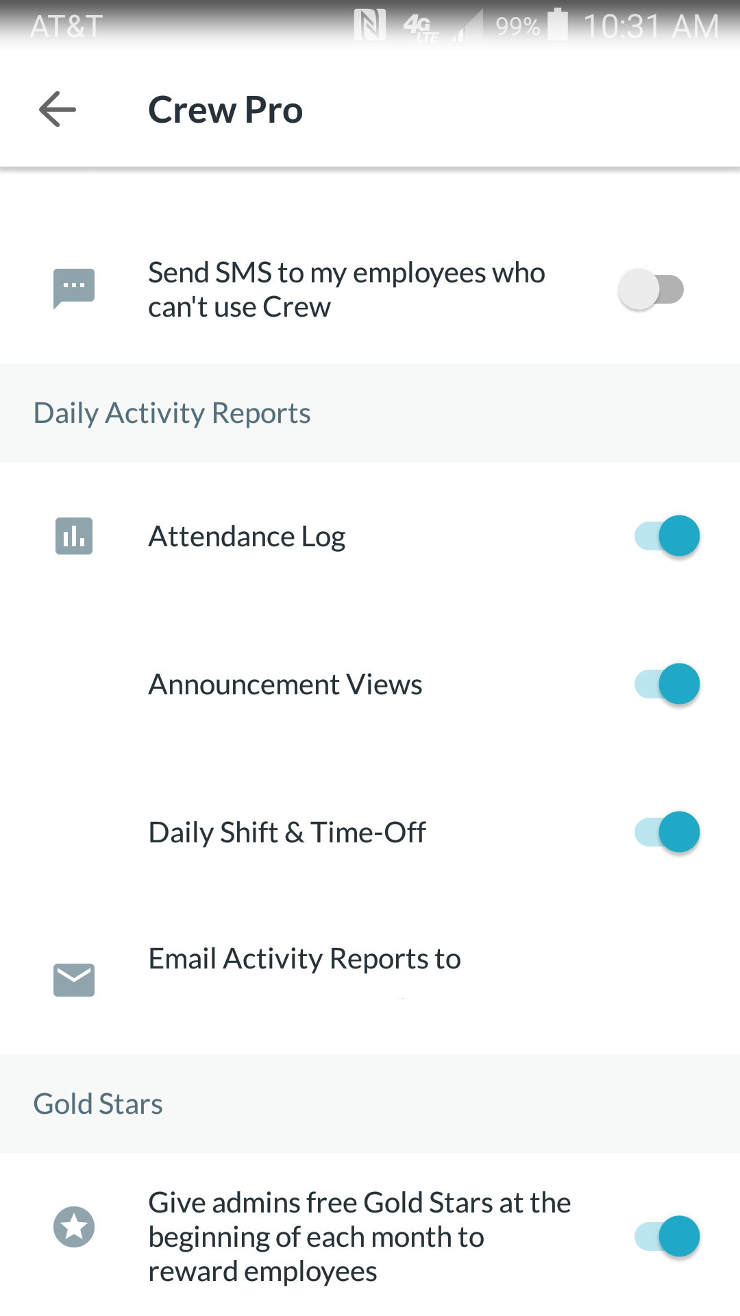 Choose the Daily Activity Reports you want to be sent from this screen