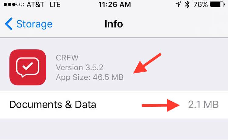 This iOS screen shows how much data your Crew app uses